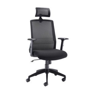 Denali High Back Chair With Headrest – Black Mesh