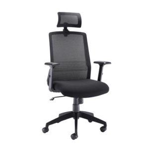 Denali High Back Chair With Headrest – Black Mesh