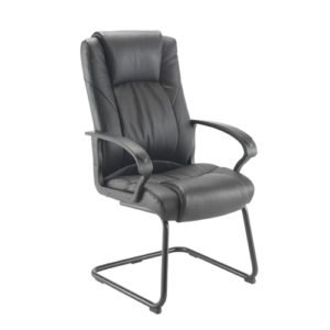 Casino II Leather Visitor Chair – Black