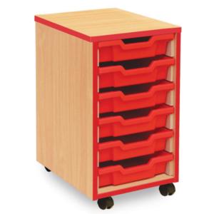 Coloured Edge 6 Tray Storage Unit