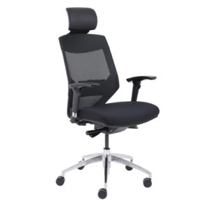 Vogue High Back Chair With Headrest – Black