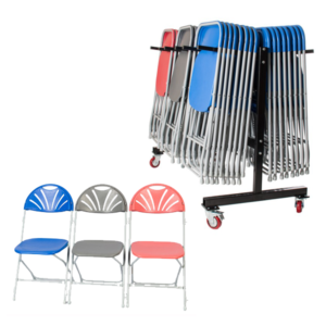 60 Fan Back Folding Chairs and Trolley