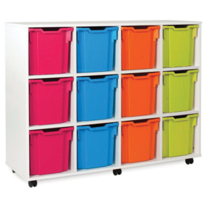 White storage 12 tray unit