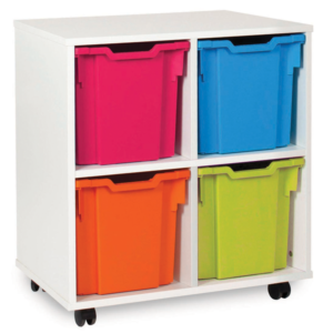 White storage 4 tray unit