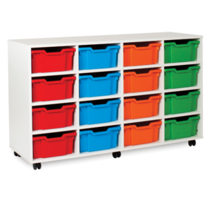 White Storage 16 Deep Tray Unit